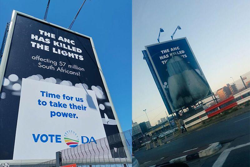News,Democratic Alliance,African National Congress,DA,ANC,Billboard vandalised,Eskom,politics,